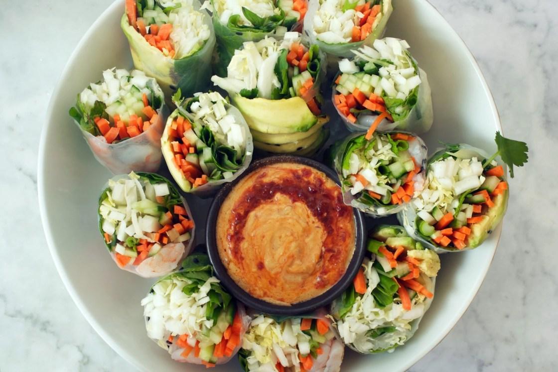 Vietnamese Spring Rolls with Spicy Almond Dipping Sauce | Zestful Kitchen