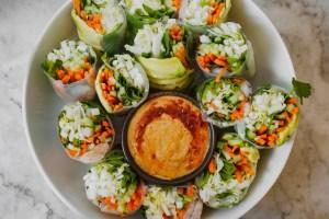 Vietnamese Spring Rolls with Almond Dipping Sauce | from Lauren Grant of Zestful Kitchen
