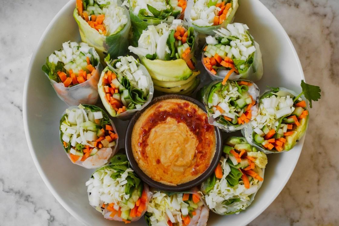 Vietnamese Spring Rolls with Almond Dipping Sauce   from Lauren Grant of Zestful Kitchen