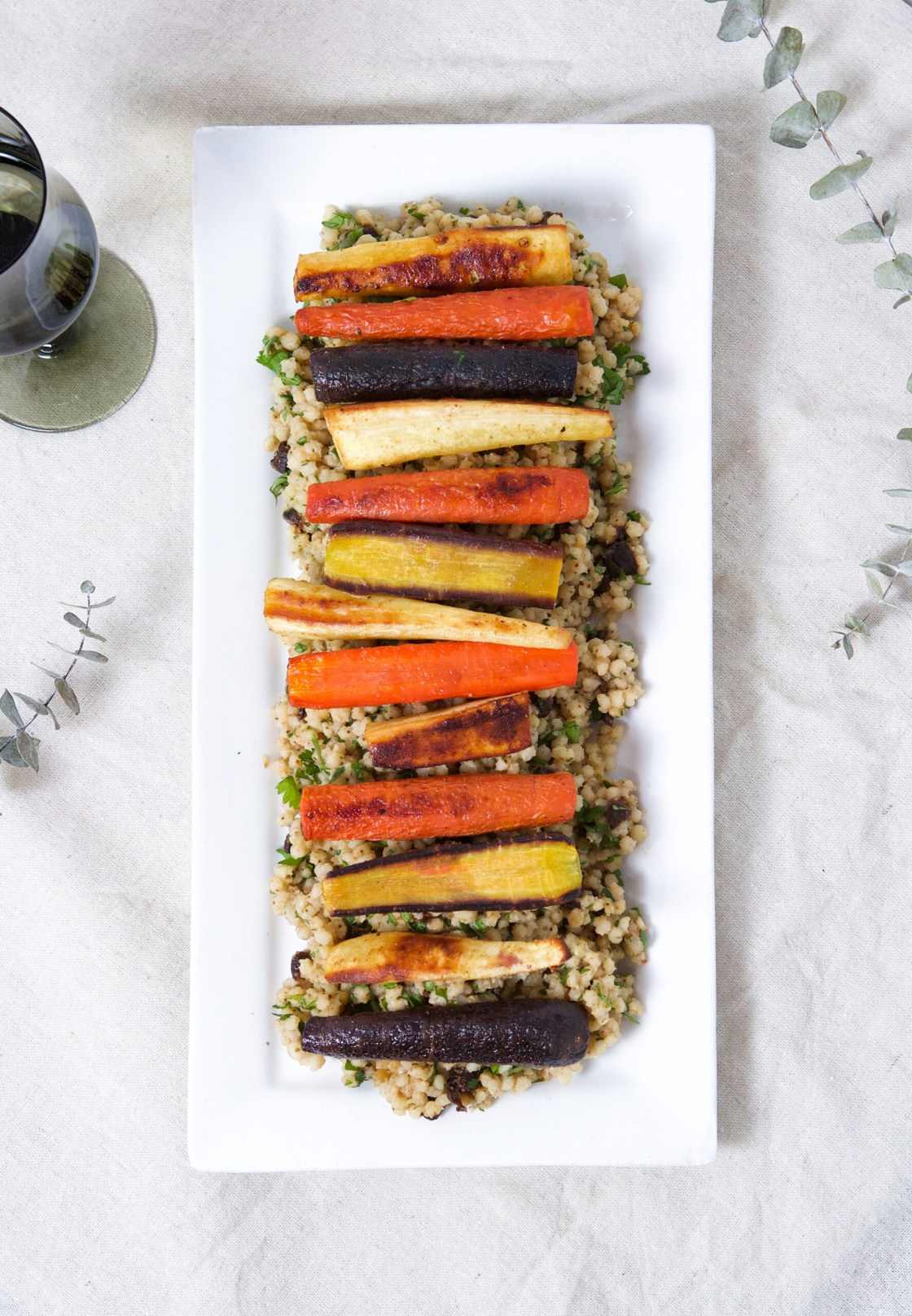 Roasted Root Vegetables & Sorghum Pilaf layered on a rectangular white plate | Zestful Kitchen