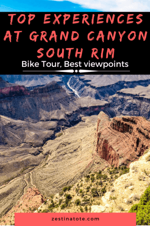 Planning to visit one of the 7 natural wonders of the world? This post will answer queries on best viewpoints at the south rim of Grand Canyon, how best to plan your one day trip to Grand Canyon and also on Grand Canyon bike tours. #grandcanyon #grandcanyonnationalpark #grandcanyonsouthrim #usa