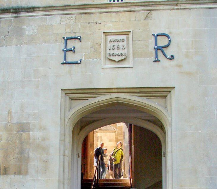 Entryway with Tudor Queen Elizabeth I's initials (Elizabeth Regina)