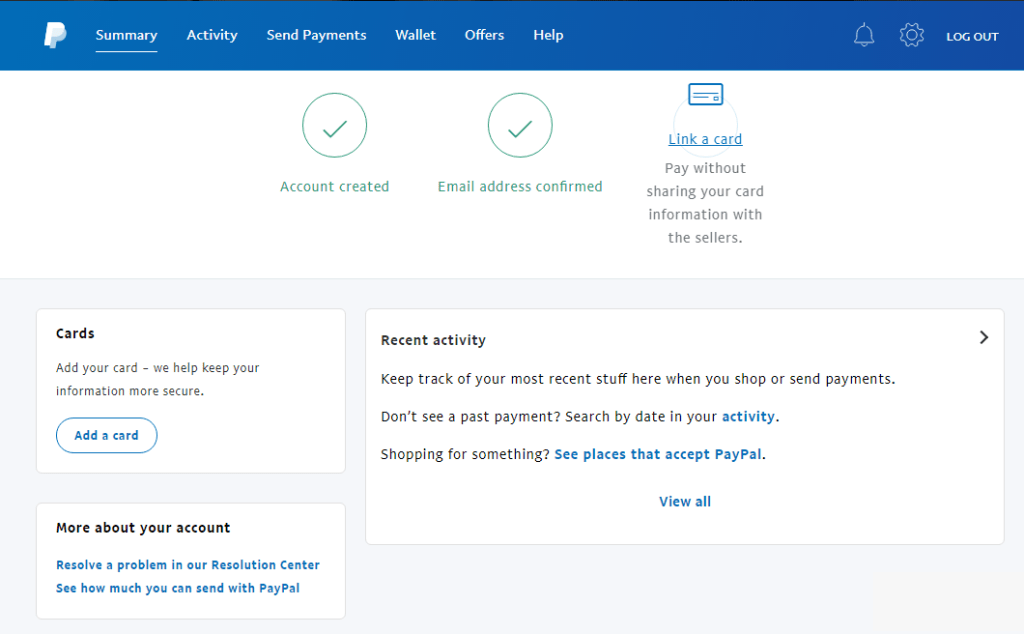 PayPal account dashboard