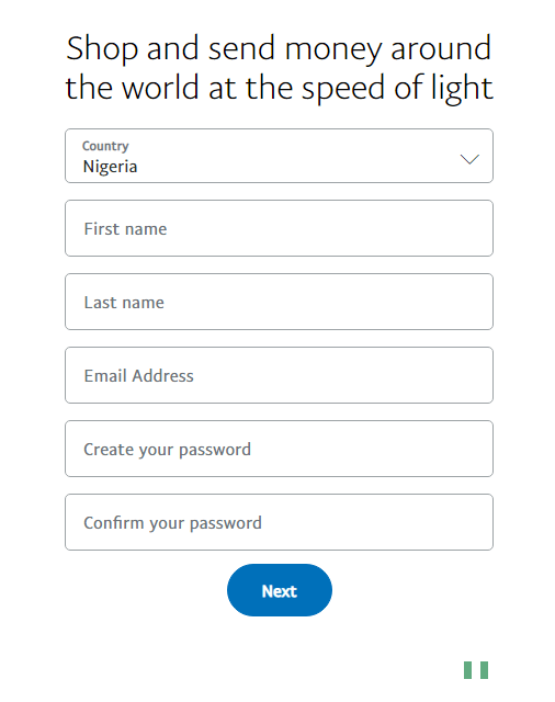 PayPal Sign Up Page