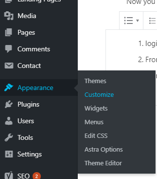 WordPress Admin menu