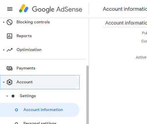 AdSense Account information