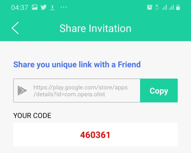 OList referral link and code