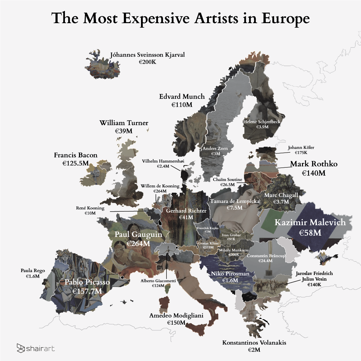 This map shows the most expensive artists in Europe