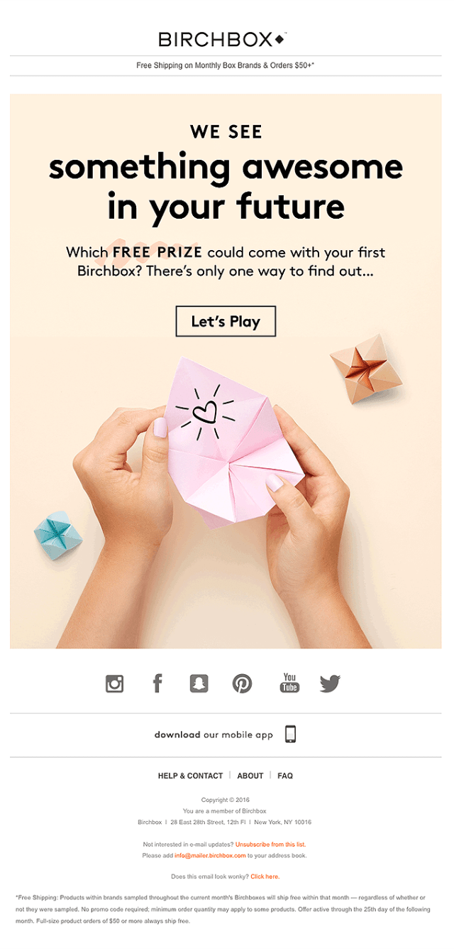 Birchbox email promotion campaign