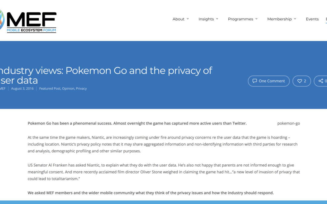 INDUSTRY VIEWS: POKEMON GO AND THE PRIVACY OF USER DATA