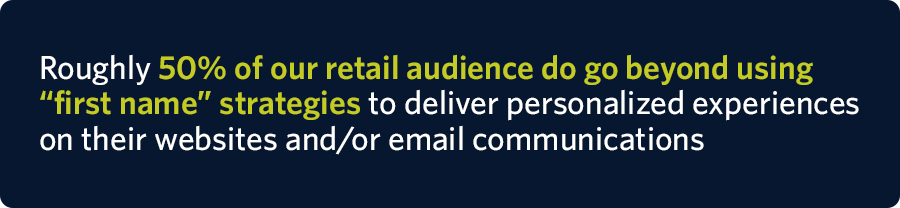"Roughly 50% of our retail audience do go beyond using ""first name"" strategies to deliver personalized experiences on their websites and/or email communications"
