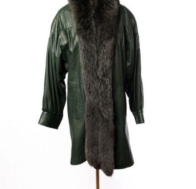 Vtg Women's Hunter Green Genuine Leather Coat Rabbit Fur Large Preowned Lined