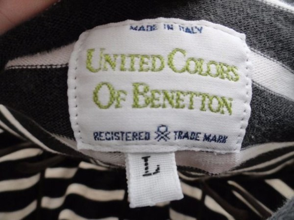 Women's UNITED COLORS OF BENETTON Black & White Turtleneck Italy Preowned Large