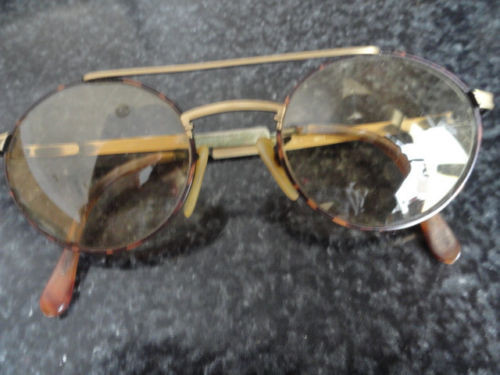 Vintage 1960's Round Double Bridge Tortoise Shell & Metal Eyeglasses