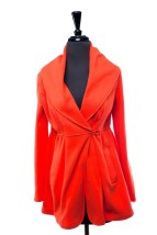 Women's KENAR Bright Orange Jacket Fully Lined M Full Cowel Neck NWOT