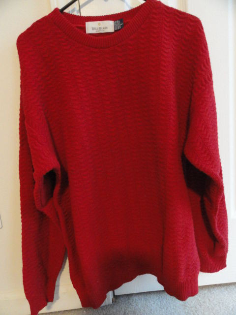 Men's Bill Blass Menswear Red Sweater Made In USA 100% Cotton L Preowned