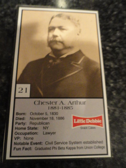 Vintage Little Debbie 1992 Presidential Trading Card #21 Chester A. Arthur Mint