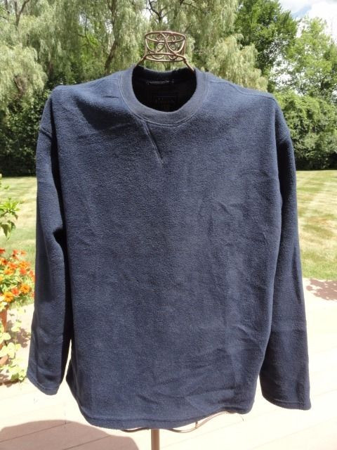 Navy Blue Basic EDTIONS Fleece Pullover Sweater Extra Large 100% Polyester NWOT