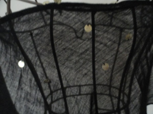 """Vintage 1970's Black Triangle Scarf With """"Gold Coins"""" 100% Cotton Gauze Greece"""