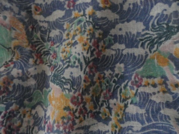 Vintage 1970's Psychedelic Flowers Waves 20's Flapper Scarf 100% Cotton No Tag