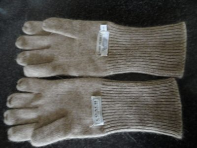 Men's COACH LEATHERWARE LAMBSWOOL Gloves Made In Italy Size S Beige Ex Cond Bag