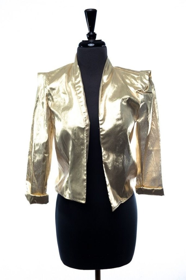 Vintage Women's Siasia New York Gold Lame Jacket Shoulder Pads 5/6 Disco Fever
