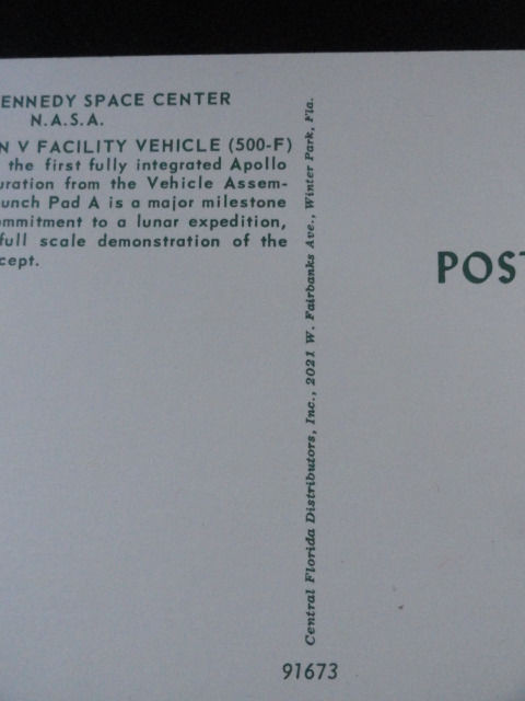 Vtg  60's NASA Postcard #91673 John F Kennedy Space Center NASA Apollo/Saturn
