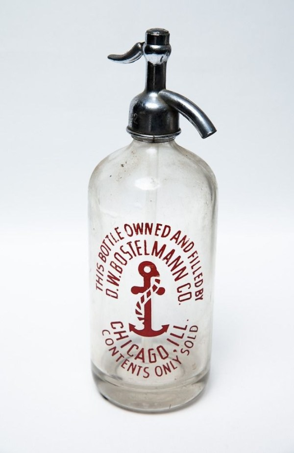 Vintage D. W. BOSTELMANN CO. Seltzer Bottle Chicago Ill. Anchor Logo Used