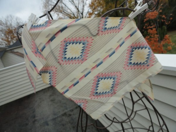 Vintage Hippie Multi Colored Kerchief Scarf Triangle Silk Geometric Pattern