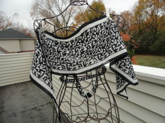 Vintage 1970's Black & White Abstract EVA_M Scarf & Belt Gutos W Germany
