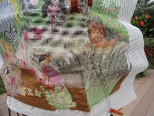 Vintage Hand Painted Needlepoint Canvas & Yarn Rainbow & Animals Design Artwork