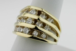 Lady's Designer JOSE HESS 18K Gold Diamond Band Ring Weighs 10.5dwt Size 7 Ex Co