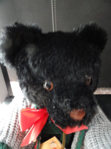 Hermann Teddy Original Black Mohair Growler West Germany Lederhosen  166306 NWT