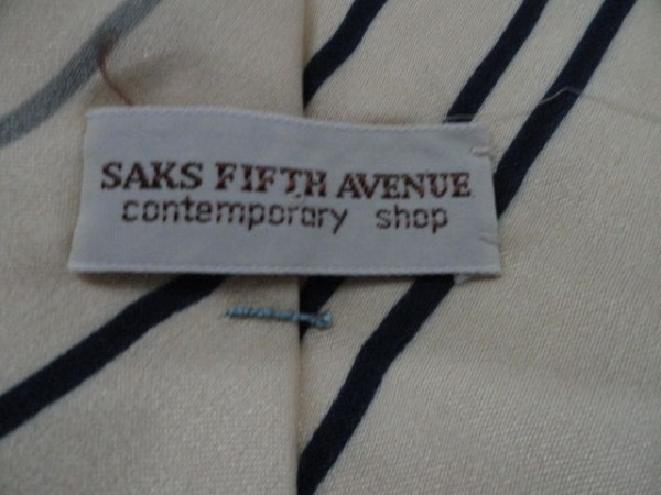 Vintage Men's Tie By Saks Fifth Avenue Contemporary Shop Hand Made Mod NWOT