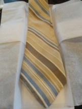 Vintage Men's COURCHEVEL Tie Beige Blue Brown Striped All Silk Union Made In USA