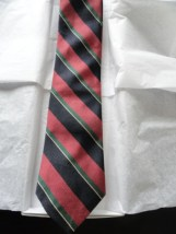 Vintage Men's Trissardi Tie Paris Milan New York Striped Navy Mauve Green Yellow