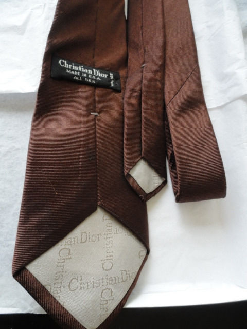Vintage Men's Christian Dior Brown Tie Made In USA All Silk WPL123 NWOT