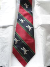 Vintage Men's Hathaway Striped Duck In Flight Tie Red Green Navy Imported Fabric