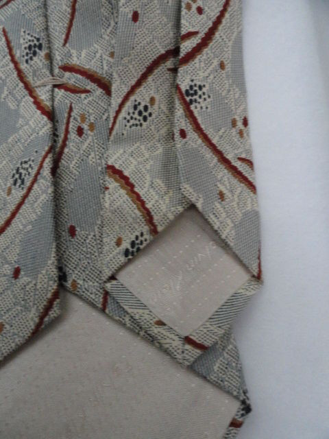 Vintage Men's Tie By Calvin Klein All Silk Fabric Italy Silver Orange Grey NWOT