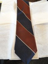 Vintage Men's Harve Benard Brown Navy Bold Stripe Tie Pure Silk Made In USA NWOT
