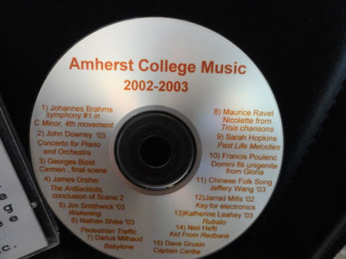 Amherst College Music 2002-2003 Music Department Of Music CD Insert Eric Sawyer