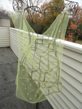 Vintage 1960's Scarf Sheer Yellow with Green Polka Dots Hand Rolled Edges
