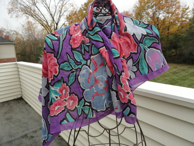 Vintage 1960's Floral Pattern All Silk Handmade Multicolored Scarf Wrap
