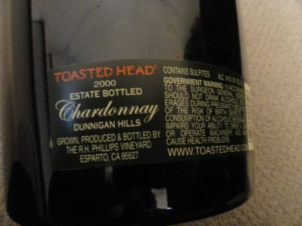 "Toasted Head Wine Chardonnay Dummy Display Wine Empty Glass Bottle 18"" Corked"
