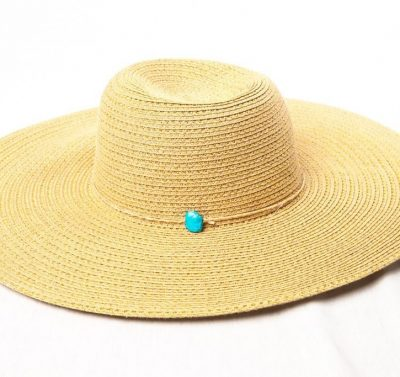"Vintage Women's Beige Gold Tone 100% Paper Hat With Blue Bead Band 7 1/2"" NWOT"