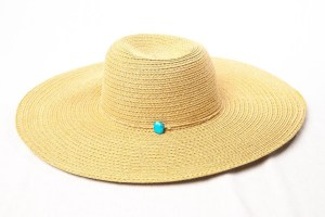 """Vintage Women's Beige Gold Tone 100% Paper Hat With Blue Bead Band 7 1/2"""" NWOT"""