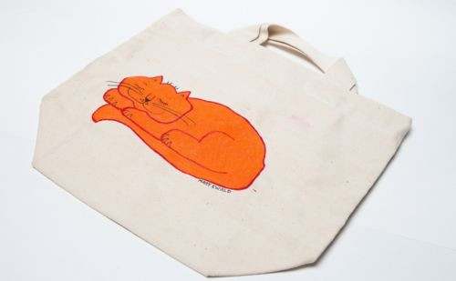 Vintage 1970's Detroit Artist Mary Ewald Hand Painted Cat Canvas Tote Bag Preown