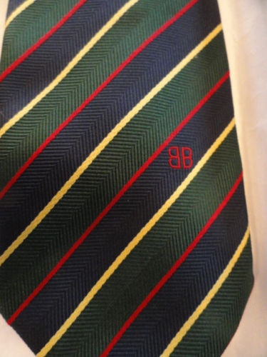 Vintage Men's BB Logo BILL BLASS Tie Navy Red Green Yellow Silk NWOT