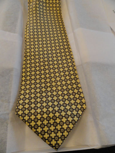 Vtg Men's Abstract GIANFRANCO RUFFINI ITALY Tie Yellow Brown Blue Made In USA