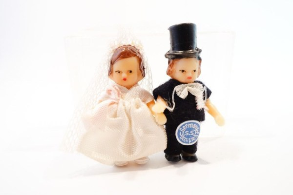 """Vintage 1940's Bride Groom Dolls Germany USSR Occupied Hand Made & Painted 2"""""""